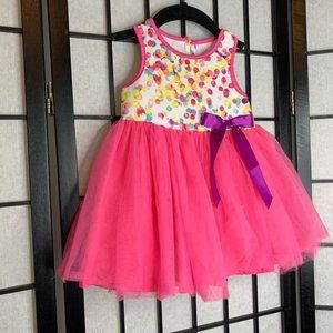 Printed Scuba Tulle Dress Pink 12 Months